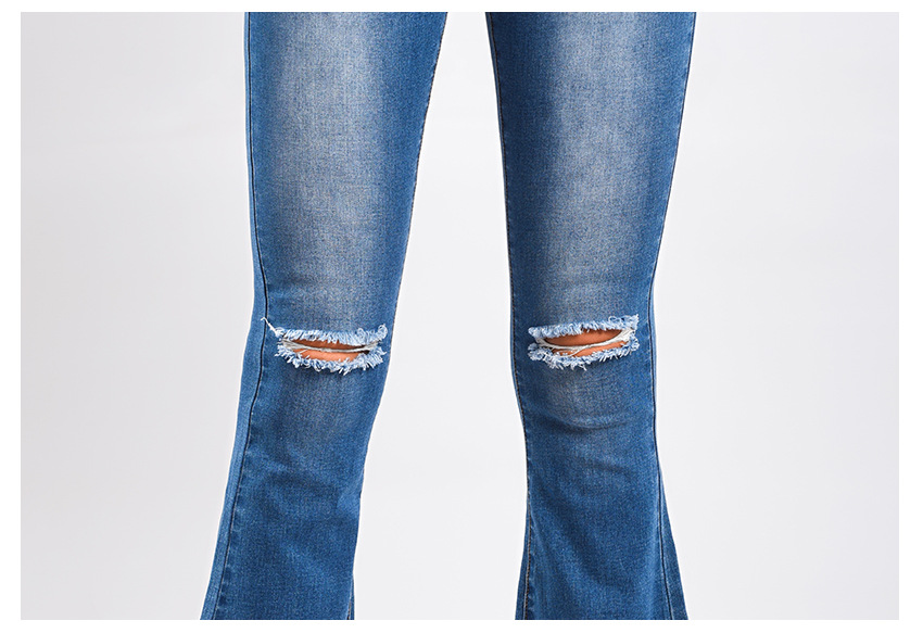 Women\`s dress of Europe and America 2018 new wide leg trousers jeans denim flared trousers women\`s worn-out edge trousers (13)