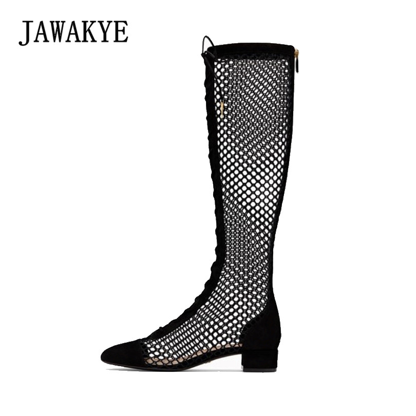 Sexy Black Lace Up Knee high Boots Female Cut Out Summer Boots Women Gladiator Thigh High Boots Flat Stretch Sexy Fashion Shoes jialuowei women sexy fashion shoes lace up knee high thin high heel platform thigh high boots pointed stiletto zip leather boots