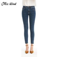 Mix Wind Women Mid Waist Small Feet Jeans 2017 Embroidered Flares Female Casual Light Bule Pocket Pencil Pants Ankle-length pant