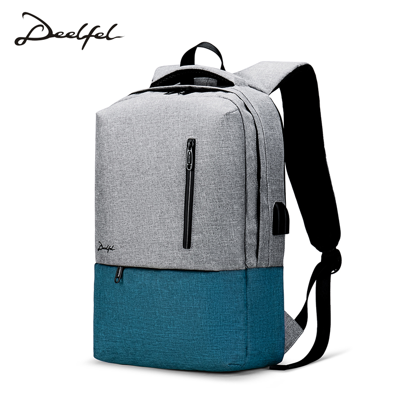 все цены на DEELFEL 15 inch Laptop Backpack USB Charging Anti Theft Backpack Men Women Travel Backpack Waterproof School Bag Male Mochila