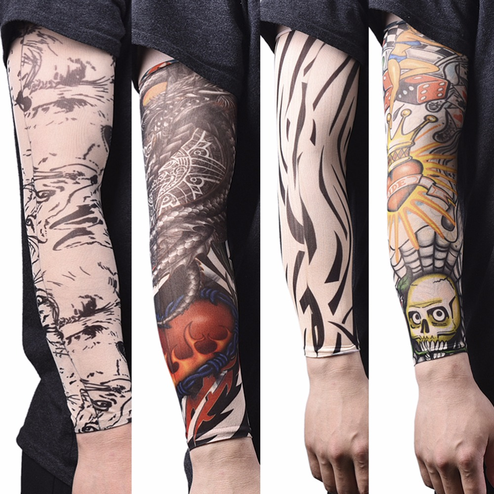 Men Seamless Fake Tattoo Temporary Tattoo Sleeve Arm Warmer Stockings Elastic Tattoo Sleeves Nylon Sport Skins Sun Protective