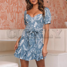 CUERLY Boho floral print blue short women dress summer Off shoulder sash sexy sundress Holiday beach female vestidos 2019