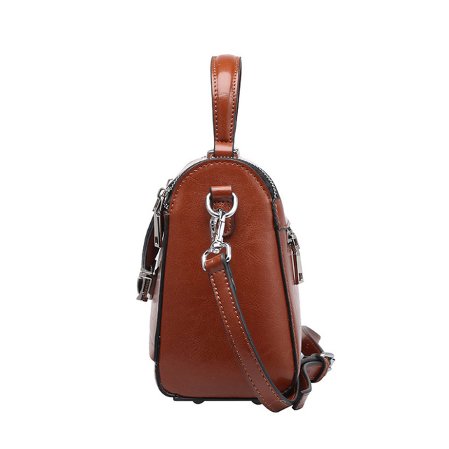 Fashion Oil Wax Leather Bags Handbags Women Genuine Leather Small Flap Bags Ladies Cover Shoulder Messenger Bags Famous Brands