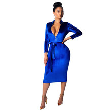 Elegant Long Sleeve Blue Velvet Dress Women Fashion New Year Party Dress Sexy Front Zipper Knee Length Bodycon Pencil Dress Sash