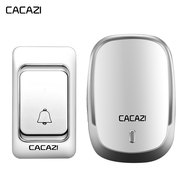 CACAZIWireless Doorbell DC Battery-operated Waterproof 1 Button 1 Receiver Smart Home Cordles Door Bell Chime 200M Remote