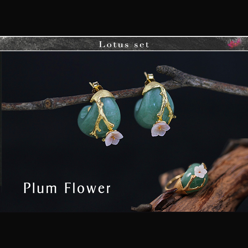 Lotus Fun Real 925 Sterling Silver Natural Stone Creative Handmade Fine Jewelry Plum Flower Jewelry Set with Ring Stud Earring цена