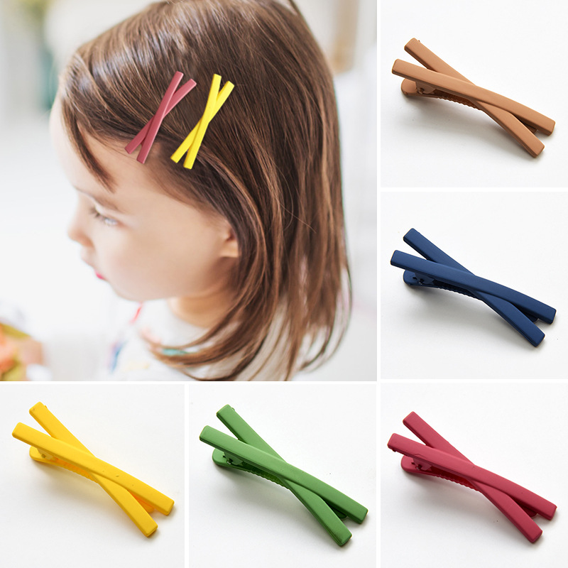 2 Pcs Hair Pins Korean Style Macaron Cross Hair Clip Candy Color Matte Hair Clips Cute Bangs Styling Hair Accessories Hairclips
