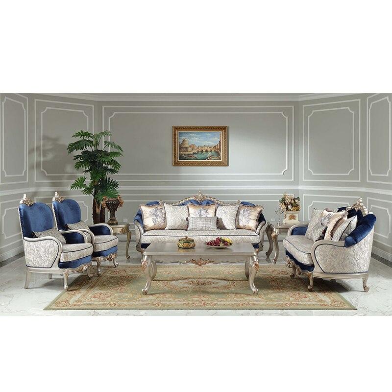 US $3546.0  Francese di lusso soggiorno divano blu combinazione divano in  tessuto-in Divani da soggiorno da Mobili su AliExpress