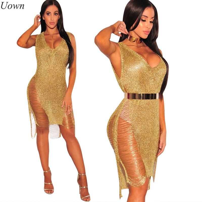 Summer Women Elegant Sparkly Party Club Midi Dresses Lady Crochet Sexy Hollow Out V-neck Rose Gold Beach Dress Vintage Vestidos