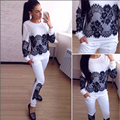 Spring Autumn Lace Patchwork Hoody Set Long Sleeve Sportswear Pants 2 Pieces Set Woman Brand Tracksuit Clothing Sudadera Mujer