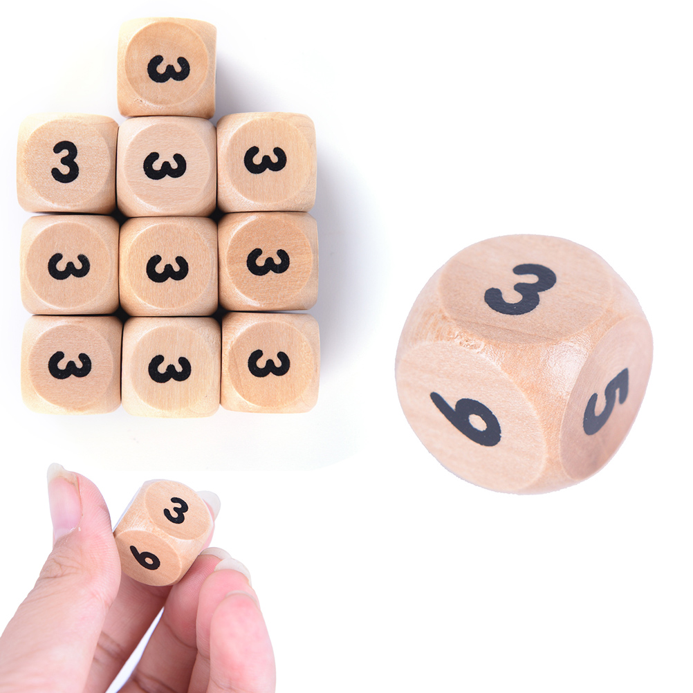NEW 10pcs Wood Dice 16mm number or point Cubes Round Coener Kid Toys Game 6 Sided Dice