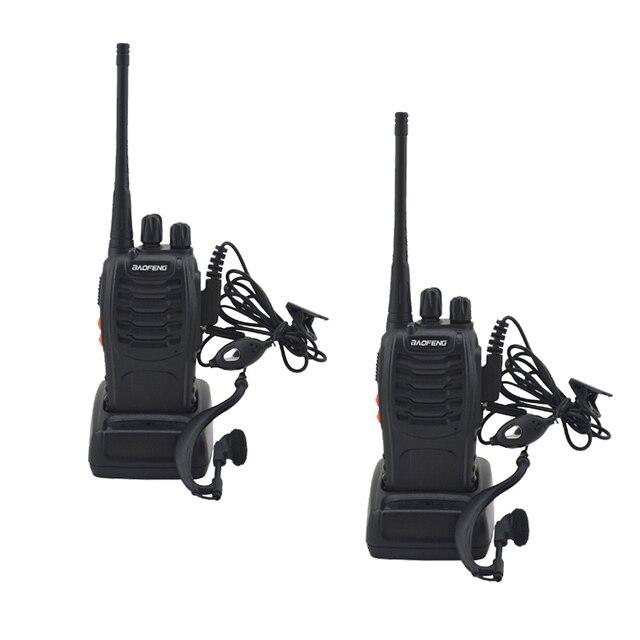 2 개/몫 BAOFENG BF 888S 워키 토키 UHF 양방향 라디오 baofeng 888s UHF 400 470MHz 16CH 휴대용 송수신기 이어 피스