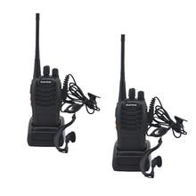 Walkie talkie baofeng uhf 2 pçs/lote, rádio bidirecional BF 888S s uhf 888 400 mhz 16ch portátil transmissor com fone de ouvido