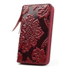 Billetera de piel auténtica con flor repujada para mujer, monederos femeninos de gran capacidad, multifunción, 100%