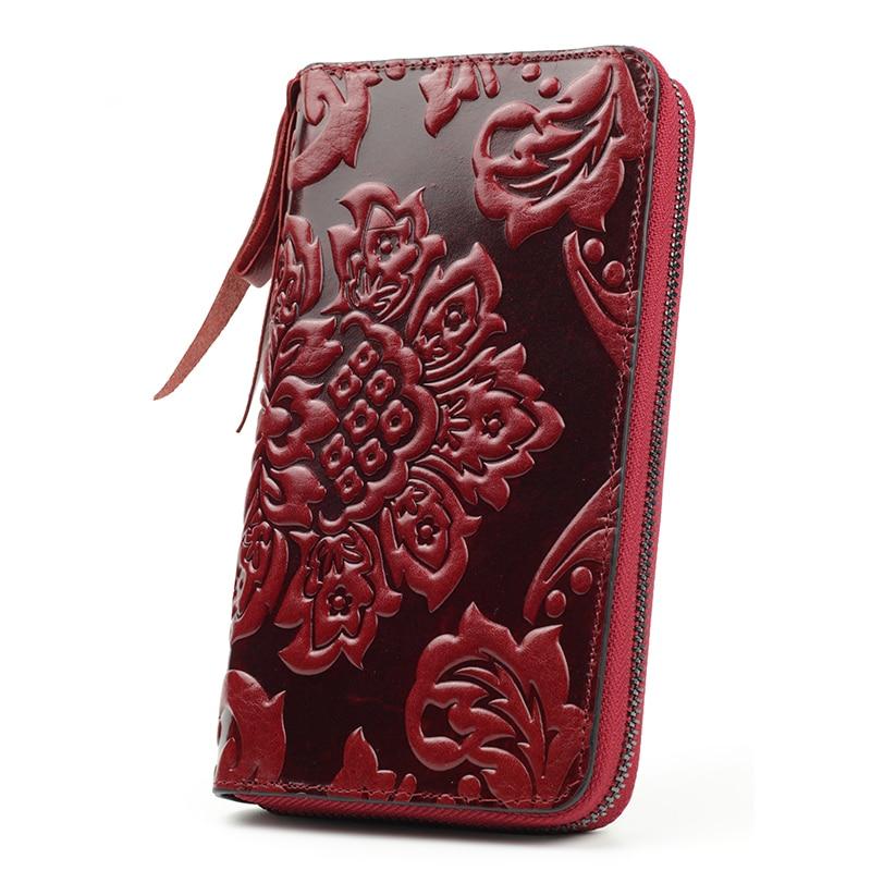 Premium 100% Genuine Leather Embossing Flower Women Wallets Large Capacity  Female Purses 2020 Ladies Multi-function Wallets