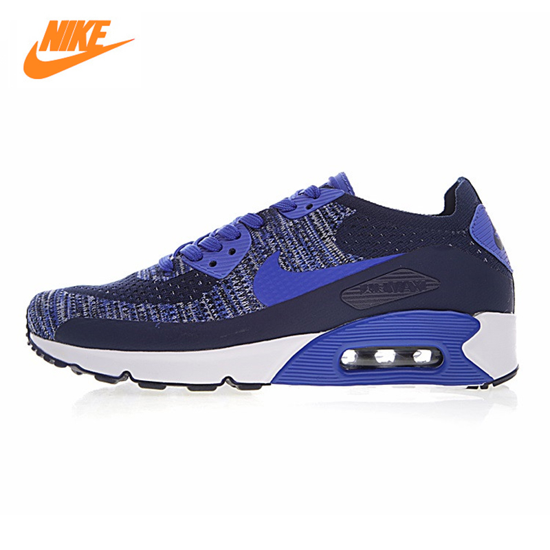 Nike Air Max 90 Ultra 2.0 Flyknit Men's Running Shoes, Blue White, Non-slip Breathable Wear-resistant 875943-400 875943-101 original new arrival authentic nike air max 90 ultra 2 0 flyknit men s running shoes breathable lightweight non slip outdoor