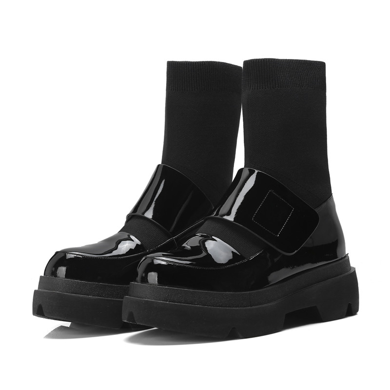 Pour Dames Rond Classique En Cuir Bout 2018 forme Plate Moto Asumer Mode Chaussures rouge Bottes Noir Femmes Véritable Cheville xBedoC