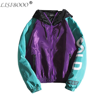 LISIBOOO Mens Jacket Spring Autumn New Casual Slim Fit Hooded Bomber Men Windbreaker