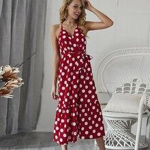 Sexy V-Neck Dot Print Women Dress Long Backless Sleeveless Sashes Female Dress Summer Style Fashion Party Casual Beach Clothing цена
