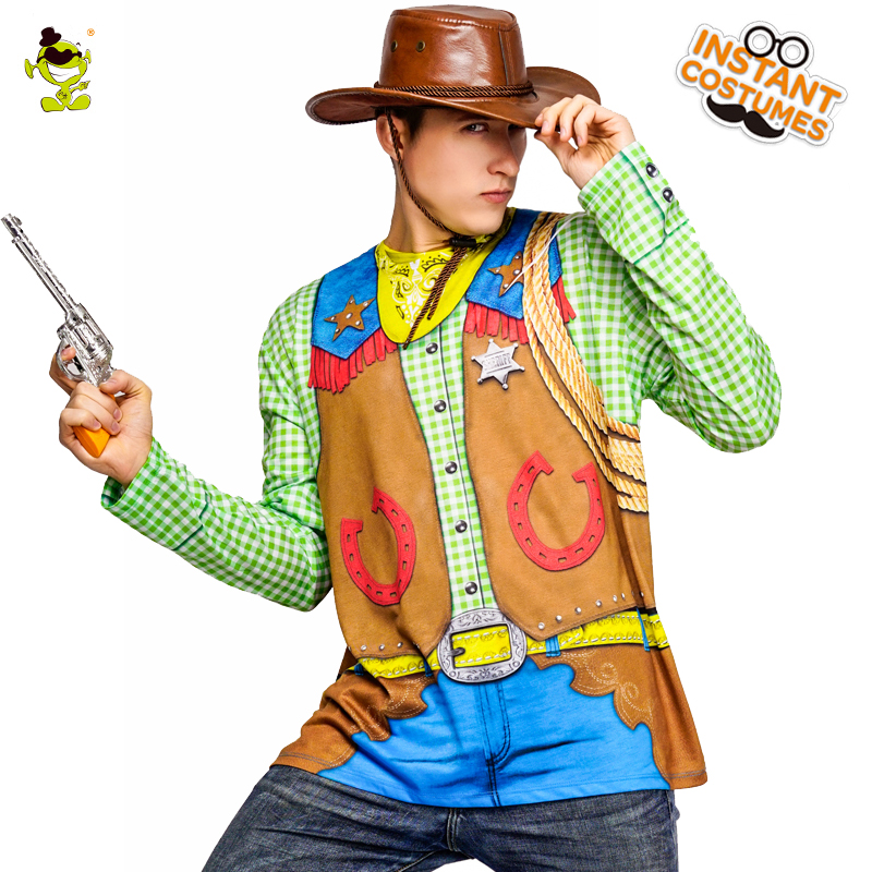 Men's Cowboy 3 D printed  T-shirt Carnival Party Long Sleeve Cowboy Printing T-shirt Masquerade Cool Cowboy Costume T-shirt