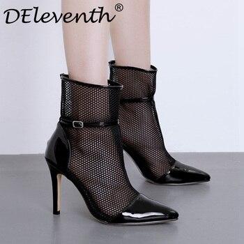e1d29e58a DEleventh/Женская обувь с острым носком и сетчатыми ремешками летние сапоги  на высоком каблуке из сетчатой пряжи женские ботинки обувь высокого.