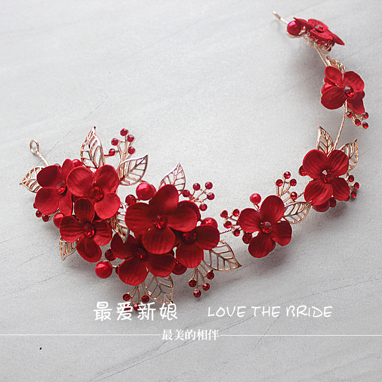 red headdress new retro alloy simulation hair flower hairpin handmade bridal hair jewelry wholesale