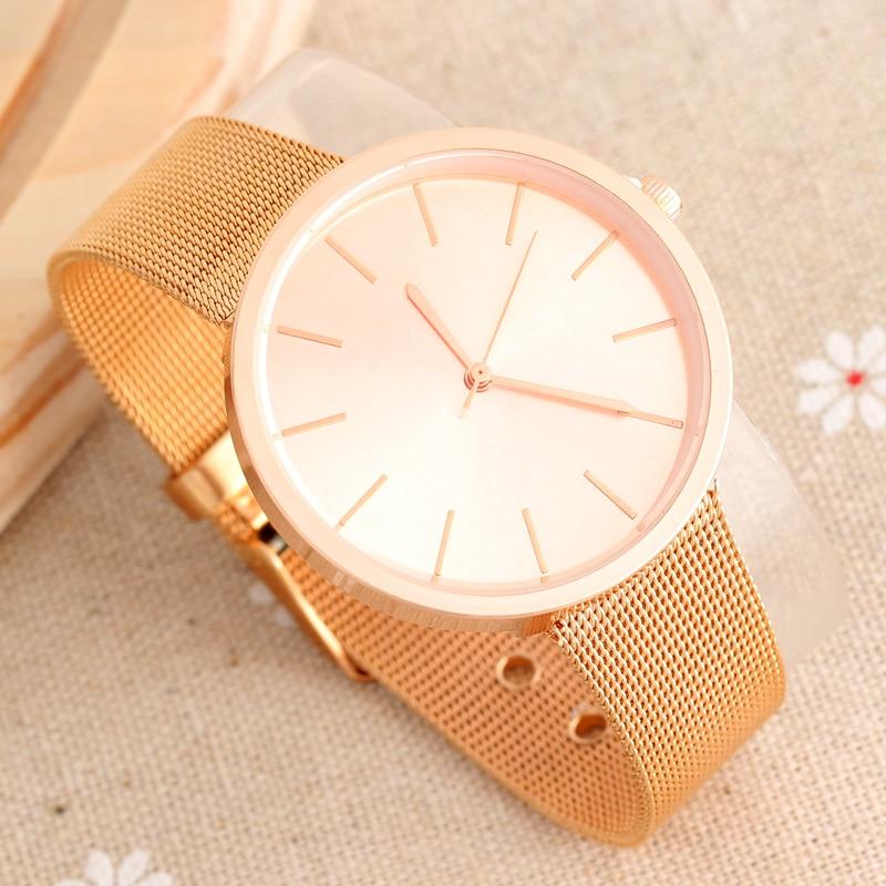 67eba54d673 Elegante das senhoras Rosa de Ouro Relógios de Luxo Ultra Slim Malha de Aço  Banda Quartzo Relógio De Pulso Das Mulheres 2017 Moda Relogio