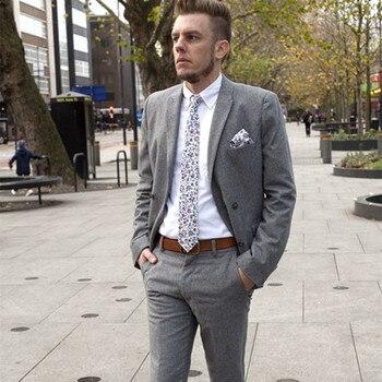 Latest Coat Pant Designs Light Grey Custom Casual men suit Tuxedo Slim Fit Men Suits 2 Pieces Blazer Masculino 2017 Jacket+Pants