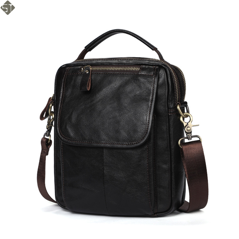 Cow Leather Messenger Bag Men Shoulder Bag Male Genuine Leather Men's bags Man Small Flap Casual Crossbody Bags for men handbags diiwii new genuine leather men bags cowhide man crossbody bags small bag for male messenger bag handbags