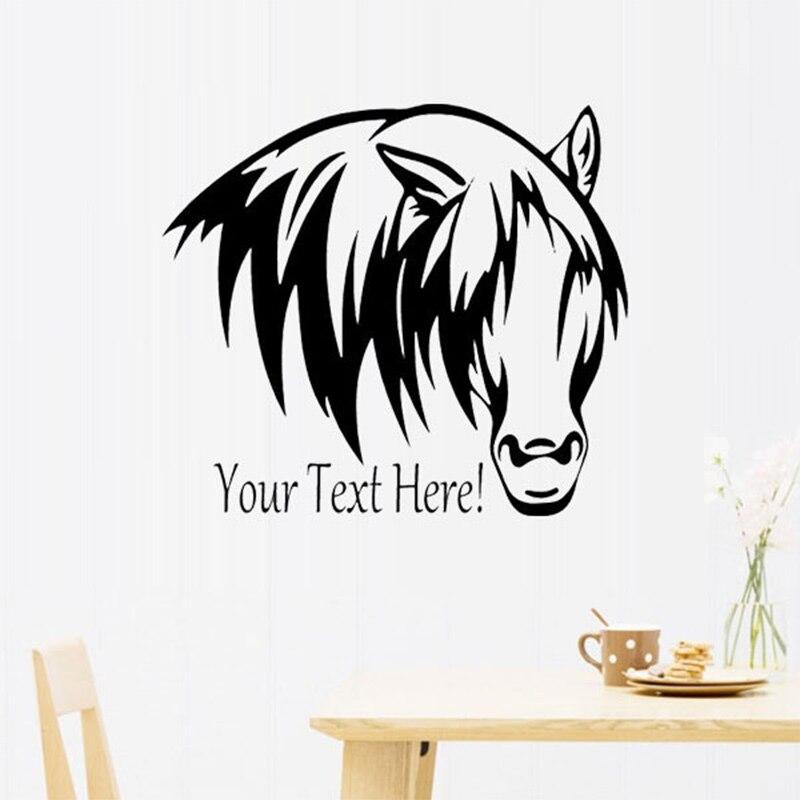 ⓪Aangepaste Naam Paard Hoofd Tekst Muurstickers Jongens slaapkamer ...