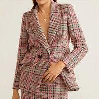 BLSQR Bouble Breasted Plaid Print Women Blazer Pockets Jackets Female Retro Suits Coat Feminino blazers Outerwear