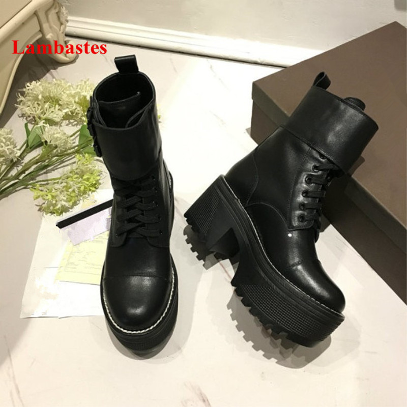 Genuine Leather Boots Women Luxury Brand Black Round Toe Lace Up Ankle Boots Thick Bottom Platform Wedges Motorcycle Botas Mujer