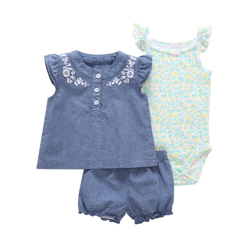 terno infantil hot sale cute printed short babygirl clothes sleeved jacket + Short romper+ Shorts 3 piece