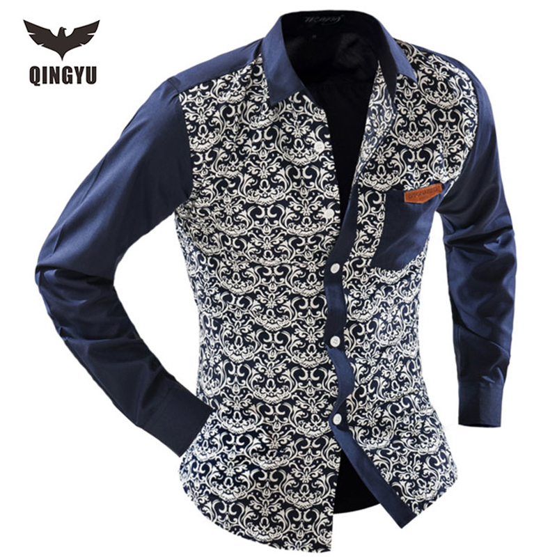 2016 men 39 s fashion men shirt floral blue and white long for Blue and white long sleeve shirt