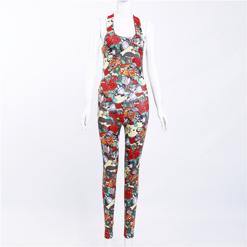 ESHINES 2019 Women Sexy Jumpsuits Sleeveless Backless Female Colorful Print Jumpsuit Dropship in Yoga Pants from Sports Entertainment