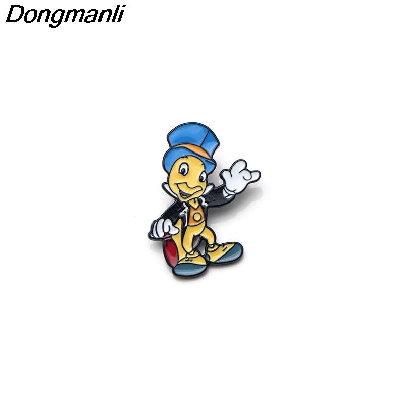 P2725 Dongmanli wholesale 20pcs lot Jiminy Cricket art Enamel Pins and Brooches for Women Men Lapel
