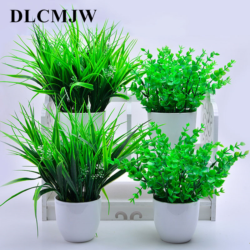 Artificial Flower Plants Potted Green Plants Leave Potted For Wedding Party Decoration Green Plant Flower Grass Artificial Grass