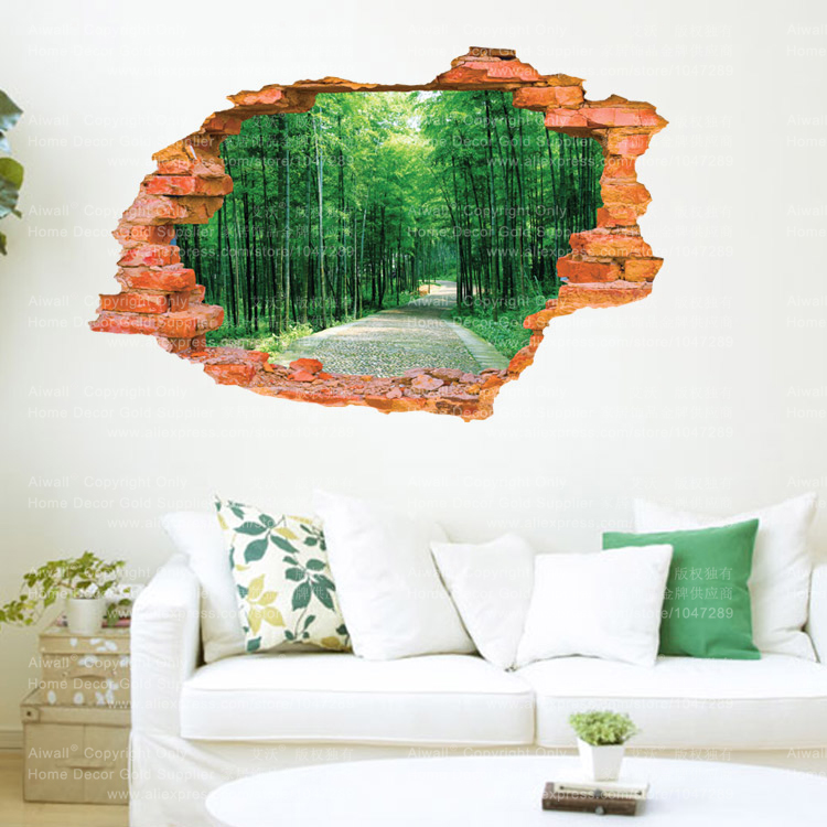 Tree lined trail 3d sticker wall sticker 60 90cm for Sticker mural 3d