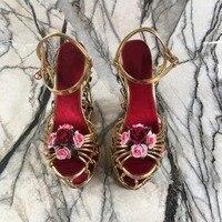 2018 shaduo модные золотые металлические стальные подошва сад обувь на высокой водонепроницаемой платформе Обувь на высоком каблуке