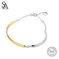 SA SILVERAGE 925 Sterling Silver Round Bracelets & Bangles for Women Fine Jewelry Chain Link Bracelet 18K Gold Color