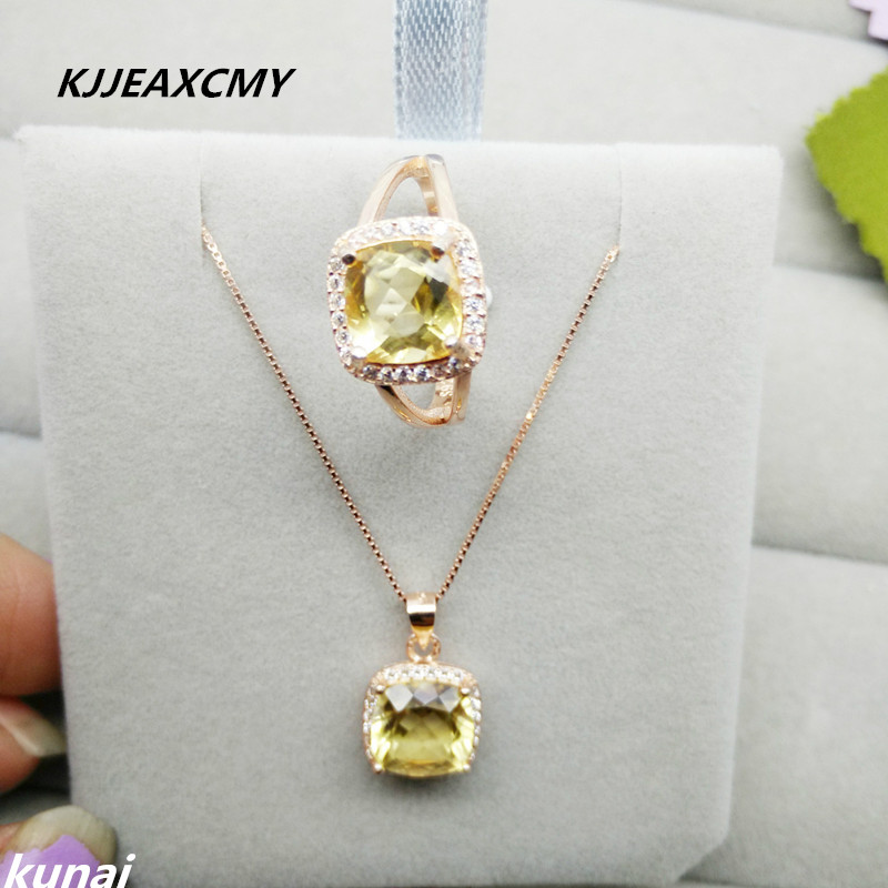 KJJEAXCMY Fine jewelry, Colorful jewelry, Huang Shuijing jewelry set, square crystal jewelry set, women's money александр викторович ралот дервиш