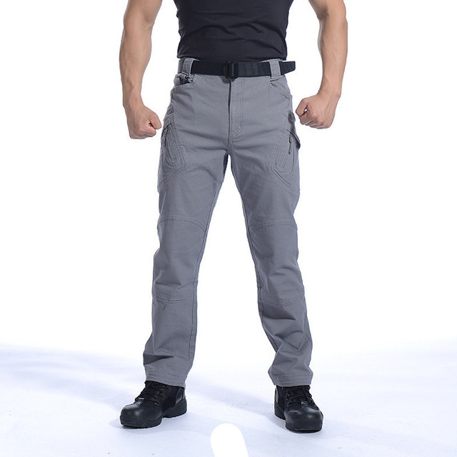 Pants Men Combat Army Military Pants Cotton Multi Pockets Stretch Flexible Casual Trousers Men