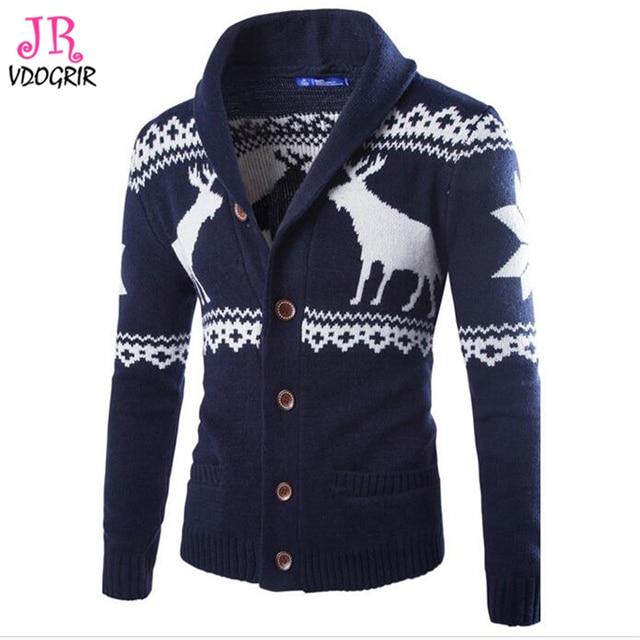 Vdogrir New Arrival Mens Cardigans Sweaters Winter Christmas Deer