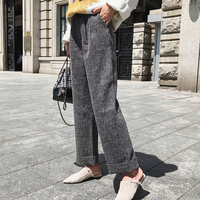 2019 spring and autumn new straight suit pants women ins super fire Korean version of loose wide leg casual pants for women
