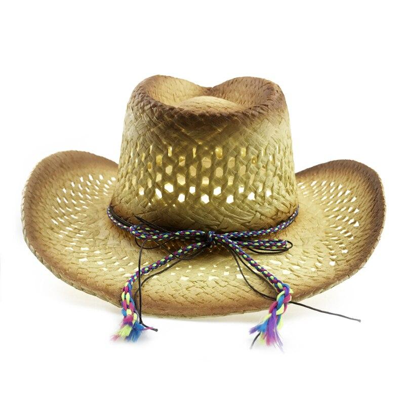 Aliexpress.com  Comprar Paja Natural Sombrero de vaquero mujeres hombres  hecho a mano casquillo del Jazz sombreros de vaquero occidental Sombrero  Hombre con ... ebbf05e62fb