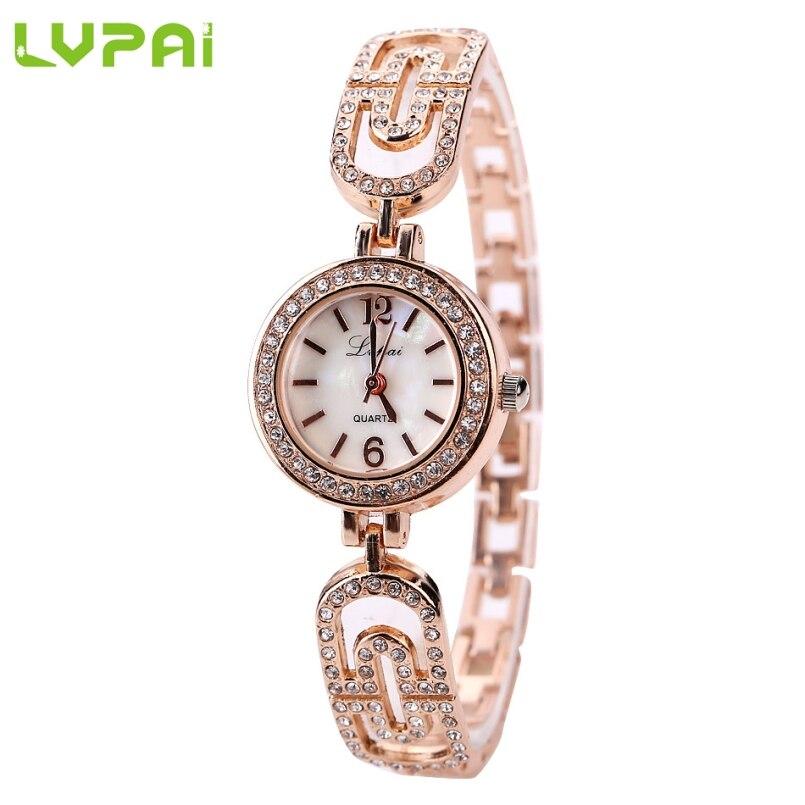 Excellent Quality Lvpai Stainess Steel Dress Watches Quartz Watch Bracelet Watch Ladies Women Crystal Round Wristwatch Mar 10