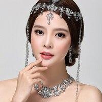 Cadeia de cabeça Tiara Do Casamento de noiva acessório do cabelo de Noiva Jóia de Cristal borla Acessórios para o Cabelo Cocar de casamento