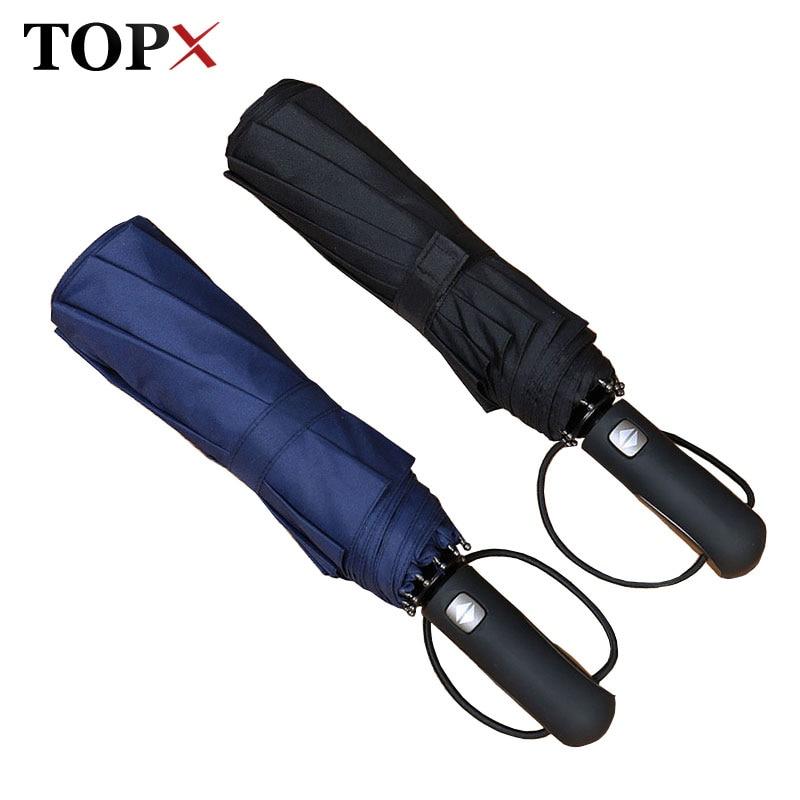 TOPX Grand En Cuir Poignée 10 Nervure Forte Automatique Parapluie Pluie Femmes Vent Résistant Hommes Noir 3 Pliage Mâle Parapluies Parapluie