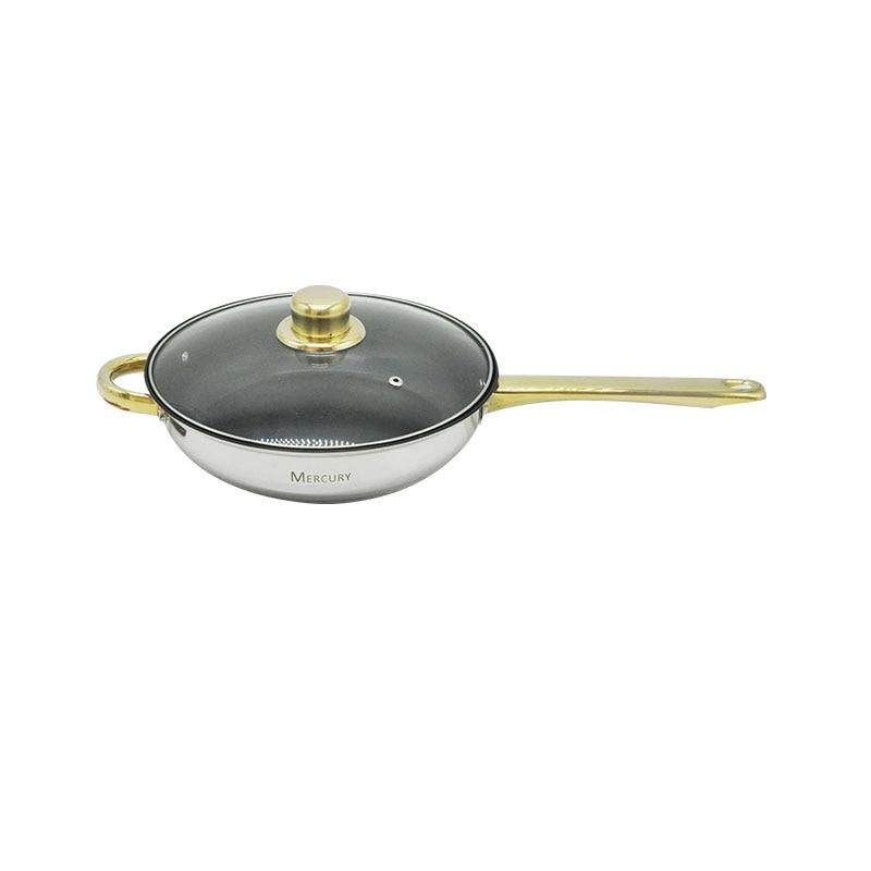 12 шт., нержавеющая сталь, позолоченные ручки, кухонные горшки, наборы посуды, кастрюля, кастрюля, сковорода, посуда, индукционная плита - 6
