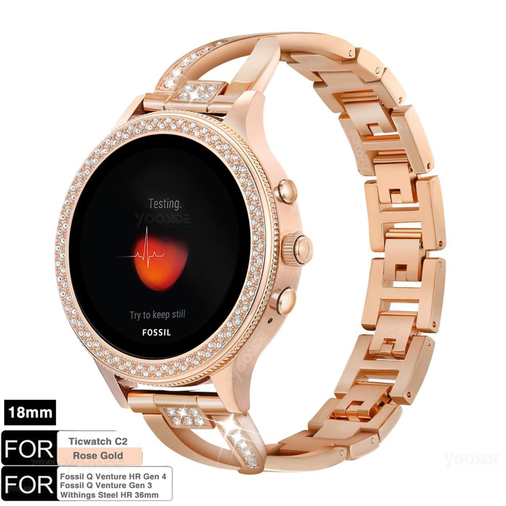 for Ticwatch C2 Rose Gold 18mm Quick Release Metal Stainless Steel Watch Band Strap Bracelet for Fossil Q Venture Gen3/Gen4 HR|Smart Accessories| |  - title=